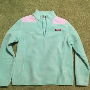 Fuzzy greenish blue quarter zip